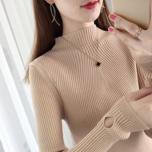 2020 Autumn and Winter New Mock Neck Sweater Ms. Western Style Inner Wear Slim-Fit Korean Style Long-Sleeved Pullover Base Jumpers