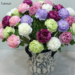 54cm Silk Artificial Peony Flowers 8cm Single Head Fake Flower with Leaf Home Vase Decor Wedding Bouquet Party Decoration