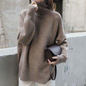 New Women's High Cuello Swool Sweater Suéter Suéter Pullover Grueso Punto de Punto Cashmere Outer Outer Wear Base de gran tamaño Top Cálido