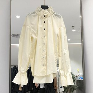 DEAT 2020 Autumn Women New Fashion Stand Collar Flare Long Sleeve Office Lady Single Breasted Beige Irregular Shirt RD508