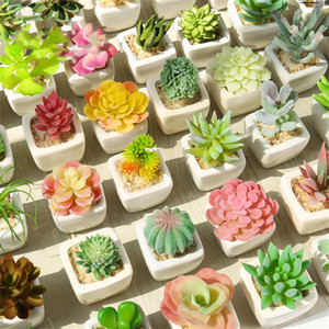 1Set Mini Potted Succulents Cactus Ceramics Bonsai Artificial Flower Fake Plants for Wedding Home Party Landscape Decorative