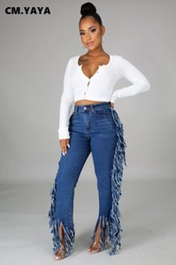 Cm. Yaya Kwastje Edge Splicing Vêtements Denim Femmes Retro Right Jeans Streetwear High Tayle Dame Broek