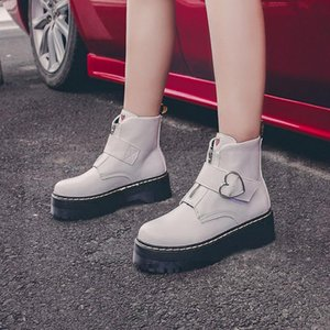 Fashion Zipper Buckle Flat Shoes Woman High Heel Platform PU Leather Boots Lace Up Women Shoes Ankle Boots Girls 35-50