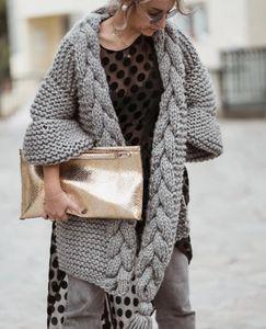Blogger ins puro mão tricô borla malha casaco casaco de camisola mulher