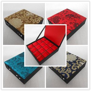 16 Grid Slot Wooden Ring Storage Box Decorative Chinese Silk Brocade Earrings Pendants Coin Collection Case Wedding Gift