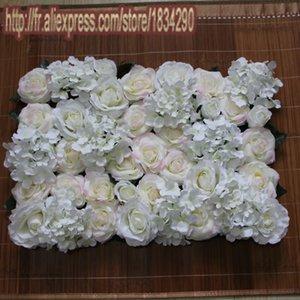10pcs 2017New Marfim / monte de seda artificial levantou-se hortênsia parede da flor do casamento de fundo decorativo estrada chumbo decoração Tongfeng