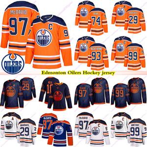 Edmonton Oilers 97 Connor McDavid 99 Wayne Gretzky 74 Ethan Ours 29 Leon Draisaitl 93 Nugent Hopkins 18 James Neal Hockey Jersey