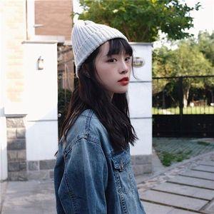 Fashion TIk TOk hats of the same style woolen elastic knitwear caps from Harajuku