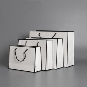 Бумажная сумка белый настоящий бумажный пакеты крафт карты упаковки сумка ткань мода хранения сумочки с ручкой утолщение хозяйственных сумки море GWC4665