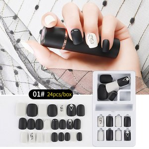 NAF007 Detachable 24pcs with Designed Crystal False Nail Artificial Tips Set Full Cover for Decorated Short Press On Nails Art Fake Extensio