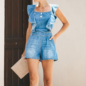 Pockets Design Ruffles Denim Rompers Women Playsuits Backless Square Neck Casual Summer One Piece Overalls