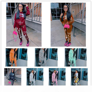 Women Tracksuit 2 Piece Set Letter Printed Long Sleeve Hoodie Trousers Graffiti Outfit Ladies Trendy Casual Thick Sweater Suits 2020 New