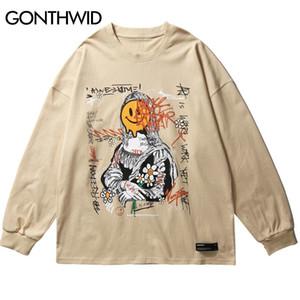 Gonthwid gracioso graffiti mona lisa cara margarita flores impresión manga larga camisetas camisetas streetwear hip hop harajuku casual tshirts y1120