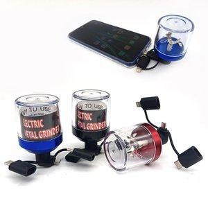Herb öğütücüler alüminyum elektrikli tütün kuru ot kırıcı smasher fit usb andorid akıllı telefon şarj sigara aksesuarları