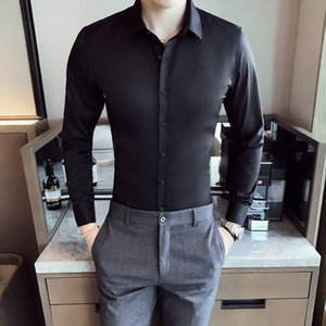 2020 New Men's Business Casual Shirt Long Sleeve Slim Fit Stretch Easy Ironing Solid Color Turn Down Collar Dress Blouses