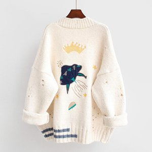 Cartoon Embroidery Oversize Cardigans Women Harajuku Loose V Neck Sweaters Jacket Female Knitted Cardigan Mujer 2020 Winter Tops