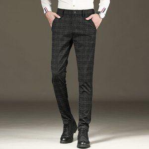 Casual Pants Men's New Check Elastic Straight Suit Pants In Autumn And Winter Fashion Brand Cotton Trousers Free Shipping Z1126