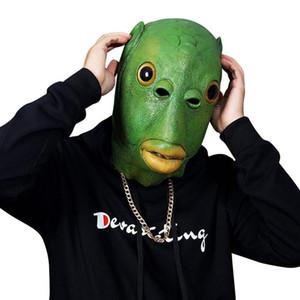 Divertido disfraces de cosplay Unisex mujeres adultas hombres carnaval fiesta verde pescado cabeza máscara de cabeza cabeza de emulsión alienígena se burla de los regalos de los juguetes