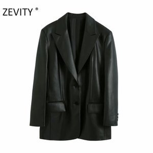 Zevity women vintage solid color PU leather blazer coat office ladies pockets causal loose stylish outwear suit coats tops CT579 X1214