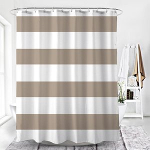 DUNXDECO Shower Curtain Bathroom Waterproof Cortinas Modern Classical Big Stripe Brown White Print Polyester Fabric Ridea
