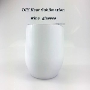 DIY Heat Sublimation 12oz Wine tumbler Stainless Steel Wine Glasses Egg Cups Stemless Wine Glasses with Lid Free shipping