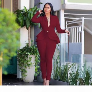 Elegant Blazer 2 Piece Set Women High Quality Work Wear Full Sleeve Ruffles Blazers Pencil Pants Suit Two Piece Set Office Lady Outfits