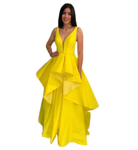 Theam Party Evening V Neck Custom Made Bright Yellow Formal Party Dress Tiered Button Back Zuhair Murad Dress Vestidos Fest
