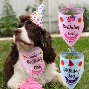 Cute Bandana Collar For Dogs Cats Soft Puppy Kitten Neckerchief Printed Birthday Party Neck Scarf Pet Accessories C bbypuI