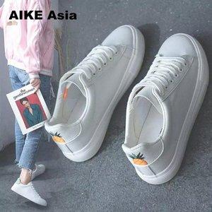 2021 Aike Asia Delle Sneakers Delle Sneakers Moda Respirazione Vulcanizzata Scarpe in pelle PU Piattaforma in pelle Pizzo Up Casual Bianco Sneaker Tenis Feminino # UW3U