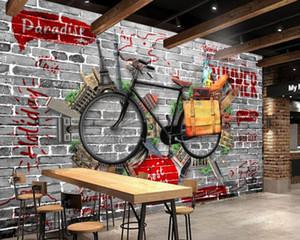 Envío gratis retro vintage bicicleta bar ktv pared personalizado 3d sala de estar dormitorio papel tapiz hotel decorativo mural con buen precio
