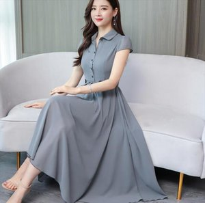 High Quality Plus Size M 4XL Summer New Arrival Turn down Collar Short Sleeve Solid Color Female Chiffon Long Dress