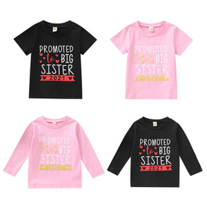 Kids Girls Letter T-shirts Toddler Short Sleeve Tops Baby Long Sleeve Shirts Kids Casual Clothes Teens Leisure Outfits 1-7T 06210202