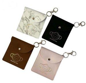 Bag PU Leather Mask Storage Bags Portable Girls Keyring Holder Dustproof Masks Card Cover Accessories 4 Designs DHB2996