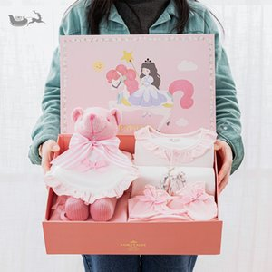 Baby Girl Newborn Baby Cotton Clothes Suit Gift Box Pink Sweet Princess Birthday Gift
