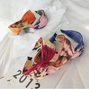 Moda Saç Aksesuarları Kadınlar Kravat Boya Çiçek Kafa Çapraz Düğümlü Geniş Kavgalı Bantlar Basın Saç Yıkama Yüz Kız Saç Bandı