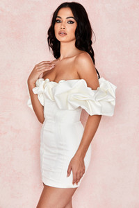 Women Spring Off Shoulder Pleated Sexy Dress Short Sleeve Midi Dress Bodycon Sexy Party Dress 011901