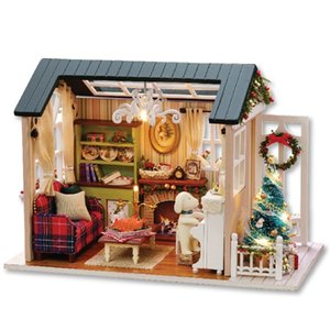 CUTEBEE Doll House Miniature DIY Dollhouse With Furnitures Wooden House Toys For Children Holiday Times Z009 Y200704