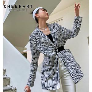 Cheerart cebra impresión otoño chaqueta mujer blazer solo botón elástico cintura diseñador damas túnica caída abrigo 2020 moda