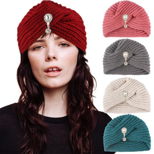 Women Winter Knotted Turban Cap, Beanie Headwrap Knitted Hat with Water drop Faux Pearl Soft Warm Headband for Long Short Hair