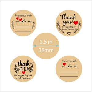 500pcs roll Flowers Heart Thank You Adhesive Sticker Handmade Business Kraft Paper Packaging Seal Decoration Stickers