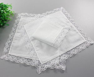 Christmas gift White Lace Thin Handkerchief Woman Wedding Gifts Party Decoration Cloth Napkins Plain Blank DIY Handkerchief 25*25cm PPD3305