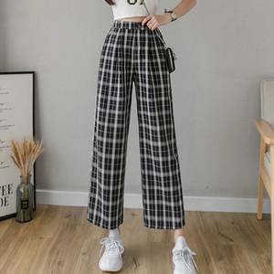 2020 Winter Women Vintage Plaid Pants Elastic Waist Pants Women High Waist Plus Size Wide Leg Pants Casual Female Korean Trousers Women