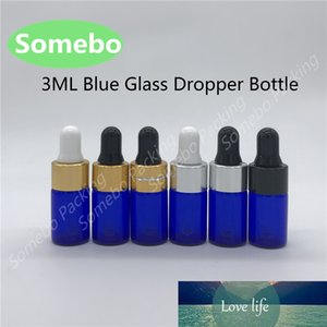 100 x 3ML Refillable Pipette Drop Bottles Small Cobalt Blue Sample Glass Eye Dropper Essential