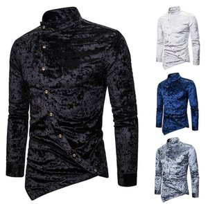 Designer Mens Clothes Casual Shirts Slim Fit Flannel for Men Long Sleeved Shirt Stand Collar Spring Autumn Men Oblique Button Dress Shirts