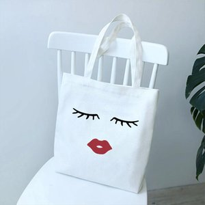 2020 Pretty And Cute Eye Lashes Red Lips Womens Printing Solid Color Shoulder Canvas Bags Casual Vogue Handbag Wallet Women Bag