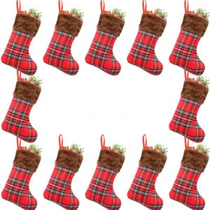 Decorate Christmas Stocking 22CM Fabric Red Christmas Stockings Xmas Indoor Decor Christmas Tree Decoration Wholesale AHD3196