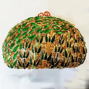 XIYUAN Gold Metal Green Bamboo Pattern Evening Bag Women Rhinestone Crystal Purse Fashion Ladies Mini Party Prom Handbags