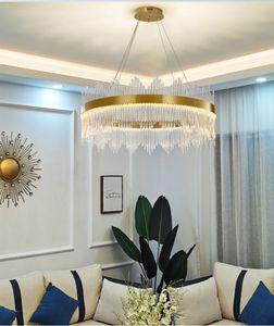 Modern Round Crystal Chandelier For Dining Room Rectangle Design Kitchen Island Lighting Fixtures Chrome LED Cristal Lustre