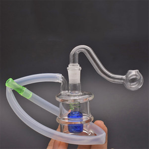 Cheapest Glass oil burner Bong thick Pyrex Glass water pipe Recycler Oil Rig with glass oil burner pipe and silicone tube Dhl shipping