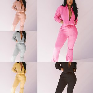 r2Cp Womens Tracksuits Long Sleeve Tops Shorts Suits 2PCS Skinny Sexy High Neck Pieces 2 Casual Pants Sets Ladies Spring Autumn Outfits